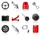 Car Parts Icon Set — Stock Vector