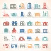 Flat Icons - Buildings — Stock Vector