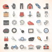 Flat Icons - Motorcycle Gear — Cтоковый вектор