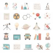 Flat Icons - Science and Education — Stock Vector