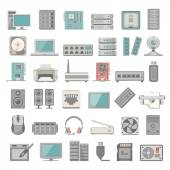 Flat Icons - Computer and Network Hardware — Stock Vector