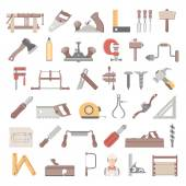 Flat Icons - Traditional Woodworking — Stock Vector