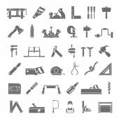 Black Icons - Traditional Woodworking — Stock Vector