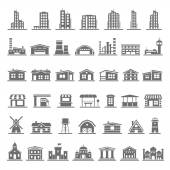 Black Icons - Buildings — Stock Vector