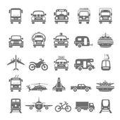 Ícones pretos - transporte — Vetor de Stock