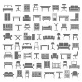 Black Icons - Furniture — Stock Vector