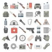 Platte Icons - Doomsday Preppers — Stockvector