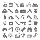 Black Icons - Doomsday Preppers — Stock Vector