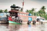 Floating boat at Mekong river — Stock Photo