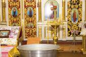 Orthodox Church, candles, cross, baptism, baptismal font — Stock Photo