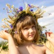Wheat field, cornflowers, ears, blue sky, summer, girl 4-6 years — Zdjęcie stockowe #71127389