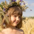 Wheat field, cornflowers, ears, blue sky, summer, girl 4-6 years — Stock Photo #71127397