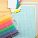 Pencils, pen, marker, notepad, sticker — Stock Photo #71665585