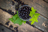 Black currant in a glass bowl transparent scattered on the old w — Stock Photo