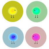 Fluffy bright birds in circles — Stock Vector