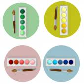 Paints and brush — Stock Vector