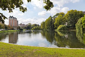 Place Flagey, view of Etang d'Ixelles - Bruxelles (BE) — Stock Photo