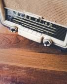 Retro Radio on wooden table — Stock Photo