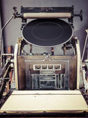 Vintage Printing press machine close up — Stock Photo