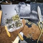 Постер, плакат: Craft tools Leather works hobby Workshop studio Object on table