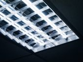 Neon Lights on ceiling close up — Stock Photo
