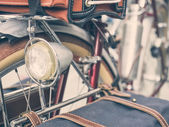 Vintage bicycle close up on Light — Stock Photo