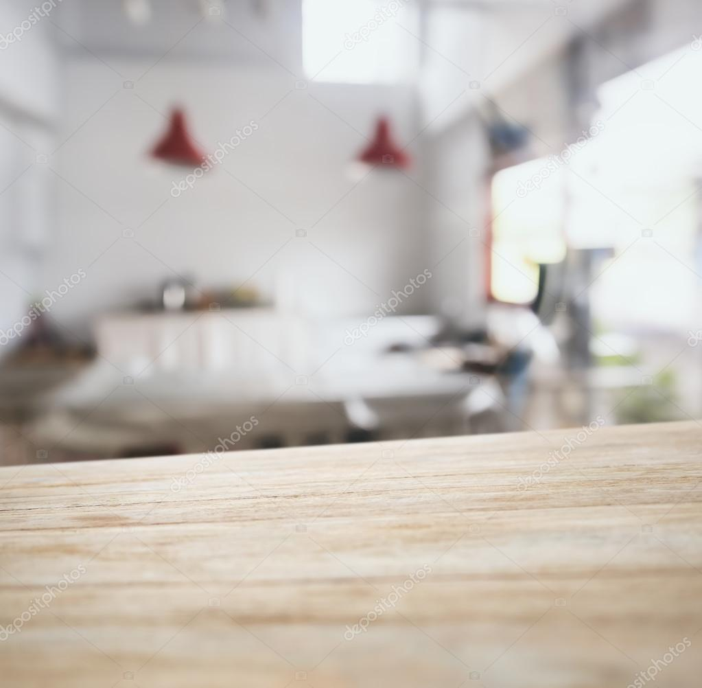 Table Top Counter Bar With Blurred Kitchen Background