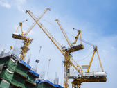 Cranes work in construction site — Stock Photo