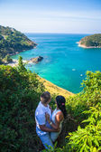 Happy Couple in love on the view point seaside tropical beach thailand phuket — Stock Photo
