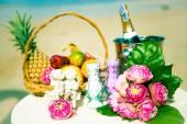 Wedding ceremony on the beach scenery ring decor coral box — Foto de Stock