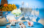 Wedding ceremony on the beach scenery ring decor coral box — Stock Photo