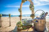 Wedding ceremony on the beach beautiful  expensive decorations decor rings — Stock Photo