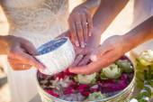 Exotic Wedding sand ceremony on the beach beautiful expensive decorations decor rings hands in the shape of a heart  asia style thai — Stockfoto
