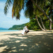 Happy Loving couple on a tropical beach against the sea Similan Island — Stock Photo #62678299