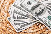 Money on Wicker surface — 图库照片
