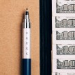 Note book, pen and dollars, — Stockfoto #70580733