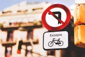 No left turn signs in Barcelona — Stock Photo
