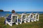 Lady Sitting in Beach Chair with Copy Space — Stock Photo