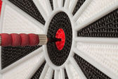 Dart in Bullseye Close Up — Stok fotoğraf
