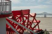 New Orleans - Paddlewheel, River, and Bridge — Stock Photo