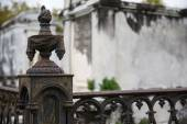New Orleans - Wrought Iron Cemetery Post — Stock Photo