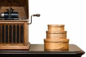 Isolated Shaker Boxes and Antique Phonograph — Stock Photo
