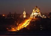 Illuminated church — Stockfoto