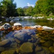 Dam from stones on the mountain river — Stock Photo #60920029