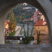 View through a castle window — Stock Photo