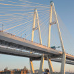 Big Obukhovsky bridge (cable-stayed) over the Neva river, St. Pe — Stock Photo #64646219