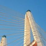 Big Obukhovsky bridge (cable-stayed) over the Neva river, St. Pe — Stock Photo #64646361