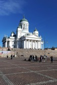 Helsinki, Finland, 28 September: urban life around the Cathedral — Stock Photo