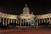 Night new year view of the Kazan Cathedral in St. Petersburg, Ru — Foto Stock
