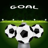 Tre palloni da calcio — Vettoriale Stock